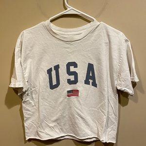 "Brandy Melville White ""USA"" Oversized Crop Top"